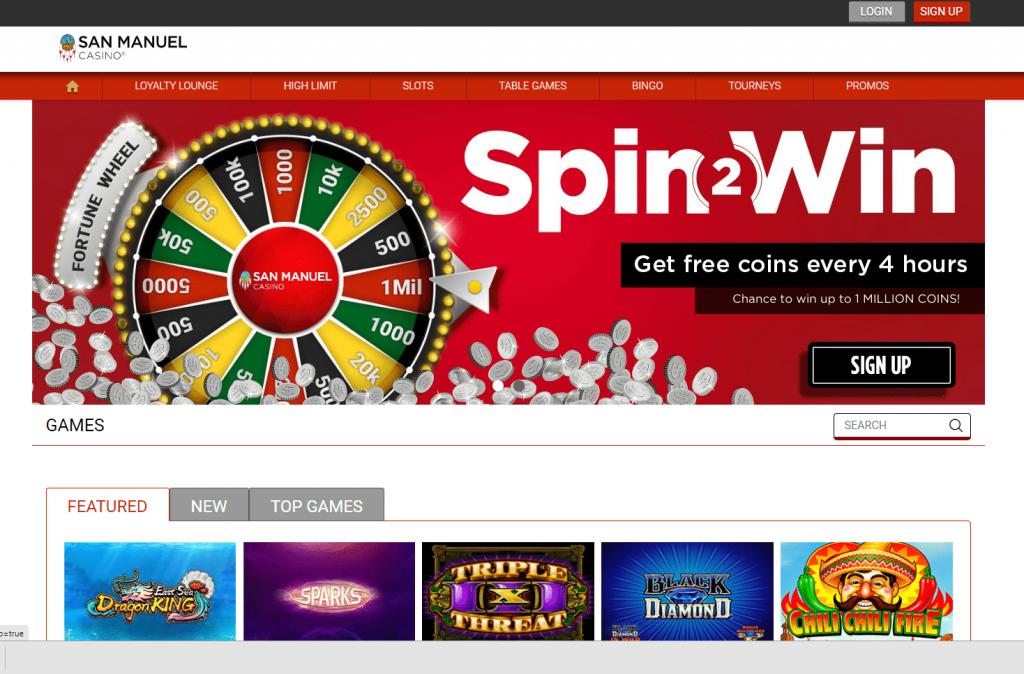 San Manuel Online Casino Homepage