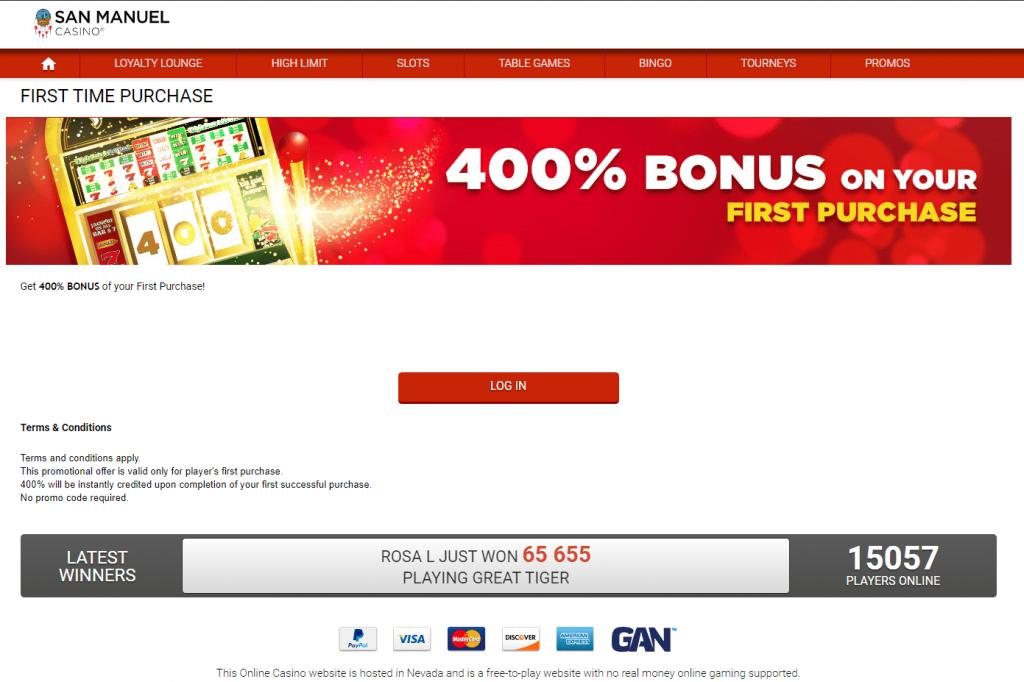 San Manuel Online Casino Welcome