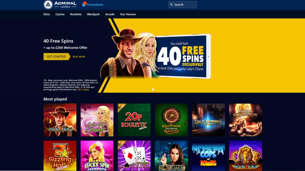 Admiral Casino No Deposit Bonus Homepage