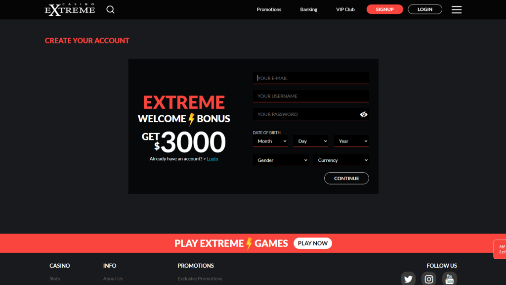Casino Extreme No Deposit Bonus Create Accounr