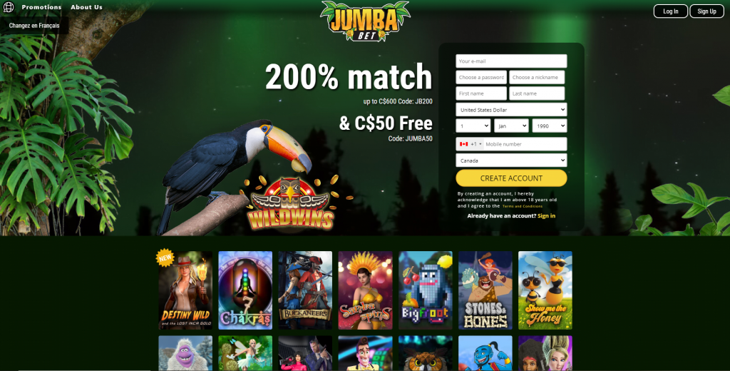 Jumba Bet Casino Homepage