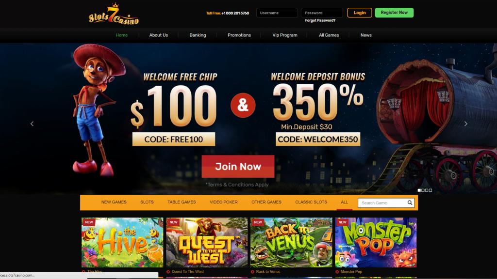 Slots 7 Casino No Deposit Bonus Homepage