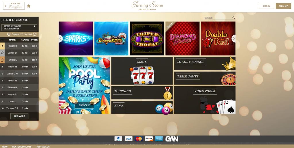 Turning Stone Casino Online Homepage